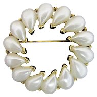 TRIFARI Circle Pin with 14 Faux Tear Drop Pearls