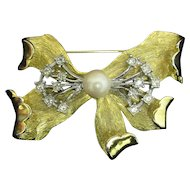 Rhinestone and Faux Pearl Bow Pin or Brooch