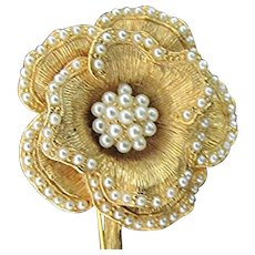 Flower Pin or Brooch with Seed Pearl Petals