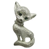 Green Eyed Sitting Cat Pin or Brooch