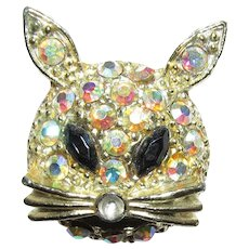 SOLD   May 2020   Cat Pin or Brooch Red Eyes and Aurora Rhinestone Face