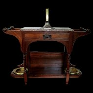 Hall Stand American Victorian Walnut Wood with Incising