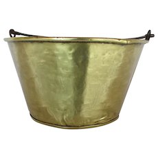 Brass Kettle, Pail, Bucket or Pot Hand Hammered Circa 1870
