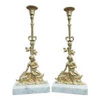 Candlestick Matching Pair Antique French Figural Candle Sticks
