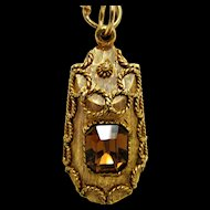 "Topaz Strass Gold Gilt Pendant 16"" Cable Link Chain"