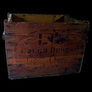 L-C Cough Drops Early Wood Advertising Box