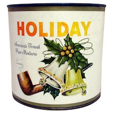 SOLD  Holiday Pipe Tobacco Advertising Tin Unopened with Paper Label