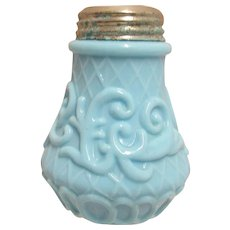 50% Off Sale Glass Salt Shaker Net and Scroll Antique American Glass Shaker by Dithridge