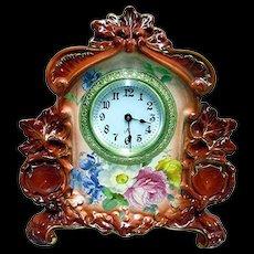 Royal Bonn Porcelain Clock by Ansonia Clock Co.