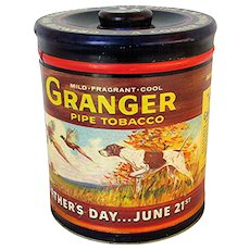 Granger Advertising Tobacco Humidor Tin Fathers Day Special Advertising Tin