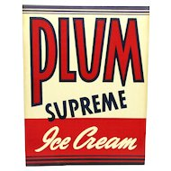 Advertising Sign For Plum Ice Cream  From The Hood Dairy 1936