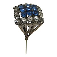 Antique Hatpin  Blue and White Rhinestones Hat Pin