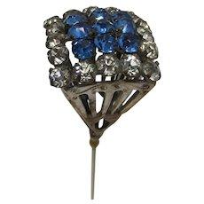 Hatpin  Blue and White Rhinestones Hat Pin