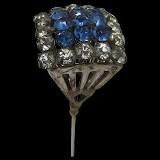 Hatpin  Blue and White Rhinestones Hat Pin