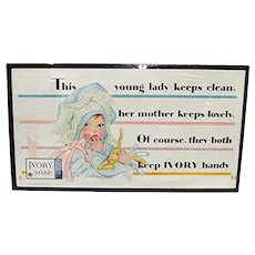 Ivory Soap  Advertising Sign Lithographed Trolley Sign REDUCED
