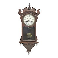 Antique Wall Clock Made By The Waterbury Clock Co. 100% Original and Fully Restored