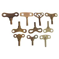 Ten (10) Antique Clock Keys