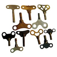 Clock Keys Assortment of Twelve for Antique Wall and Mantel Clocks