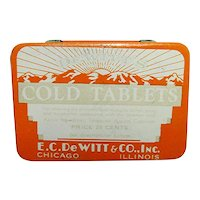 Advertising Tin Dewitts Cold Tablets Pocket Tin Medical Pharmacy