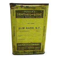 Drugstore or Pharmacy Advertising Container  Penicks ELM BARK  Botanical