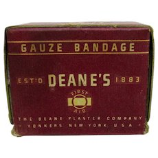 Advertising Deane's Gauze Bandage Original Box and Contents Pharmacy Drugstore