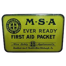 SOLD   MSA Ever Ready First Aid Packet  Advertising Tin with Contents