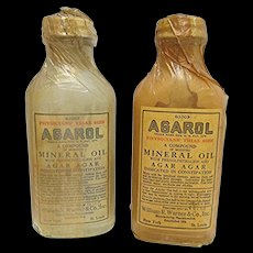 Pharmacy or Drugstore Bottle Advertising Trial Size Physicians Sample Agarol Unopened