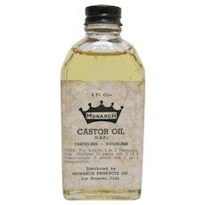 Monarch Castor Oil Drugstore Or Pharmacy  Bottle with Original Oil 2 Fl. Oz.