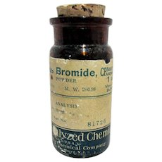 Amber Pharmacy Bottle Bakers Analyzed Chemicals, Baker Chemical Co. New Jersey