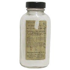 Medicine Bottle Carmacin  Physicians Specimen Burroughs Wellcome & Co.