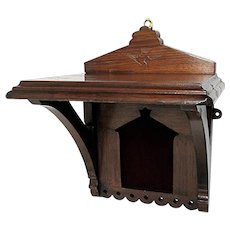 Antique Wall Shelf Walnut with Carved Hummingbird Design