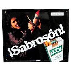 Original Latino Kool Cigarette Metal Advertising Sign