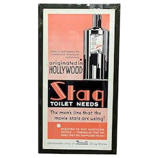 SOLD  Dec.  2020  Large Rexall Advertising Sign Art Deco for Stag Hair Tonic