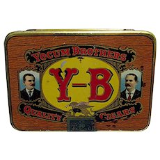 Cigar Tin Yocum Brothers Y-B Pocket Cigar Advertising Tin