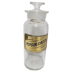 Apothecary Bottle Glass  Label Inset Pepsin.Sacch.