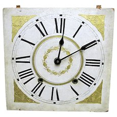SOLD      1835 Wood Clock Dial Functional Timepiece