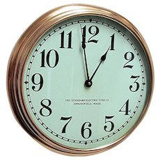 SOLD   See other CLOCKS for SALE    Round Copper Slave Wall Clock Runs And Keeps Time