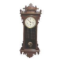 E. N. Welch Eclipse Calendar Regulator Antique Wall Clock