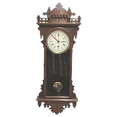 E. N. Welch Eclipse Calendar Regulator Antique Wall Clock