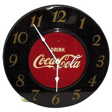 SOLD   See many other Clocks on  SALE   Maroon Coca Cola Advertising Clock