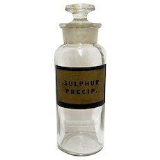 Glass Apothecary Jar Sulphur Precip. Antique