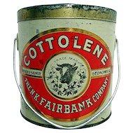 Advertising Tin Cottolene Lard by Fairbanks