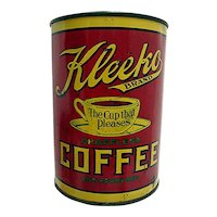 Advertising Coffee Tin For Kleeko Coffee In Pittsburgh Pa.