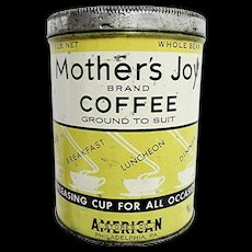 SOLD   See Other Coffee Tins For Sale   Advertising Coffee Tin in Yellow Mothers Joy - Red Tag Sale Item
