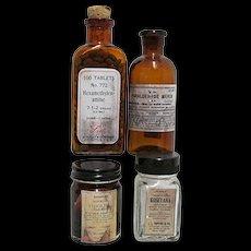 Pharmacy Bottles from Closed Drugstore  4 Different