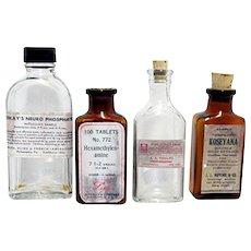 Four Drugstore or Pharmacy Bottles 2 Amber 2 Clear Glass