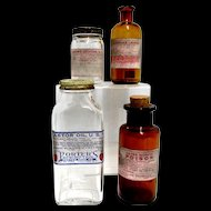 Four Advertising Bottles 2 Clear 2 Amber from Drugstore or Pharmacy