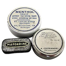 Three Different Rare Small Advertising Pharmacy Tins