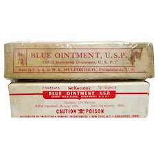 Two Blue Ointment Tubes in Original Boxes Mckessons & Robbins and H. K. Mulford   $10 each