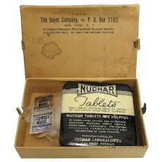 Bayer Co. Original Mailing  Box with Nuchar Tablets Tin
